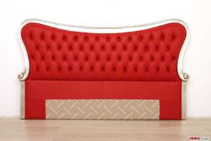 Testiera letto in pelle rossa con cornice argento in legno