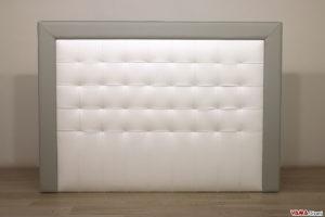 Testata letto moderno in pelle bianca e grigia