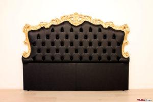 testata letto barocco nera e foglia oro