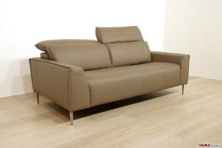 Divano moderno grigio lineare con poggiatesta relax