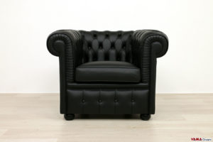 Poltrona Chesterfield piccola in pelle nera