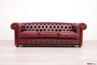 Divano Chesterfield 3 posti rosso vintage