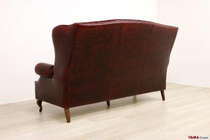 Schienale alto divano bergere classico in pelle