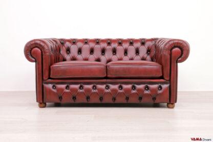 Divano Chesterfield con base capitonné rosso vintage in pelle