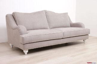Divano classico moderno sfoderabile in tessuto grigio chiaro