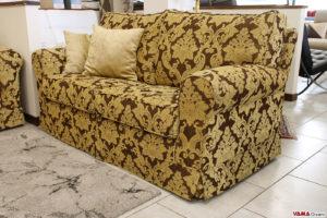 Divano classico 2 posti tessuto damasco giallo marrone