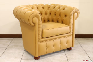 Poltrona Chesterfield piccola senape in pelle