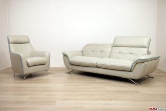 Salotto moderno in pelle con poggiatesta reclinabile