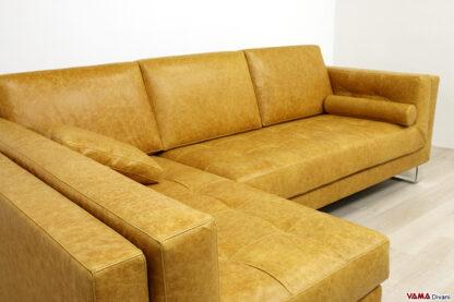 Sedute trapuntate del divano moderno in pelle gialla