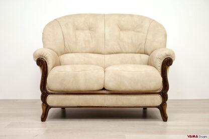 Divano vintage 2 posti in tessuto beige chiaro e legno a vista