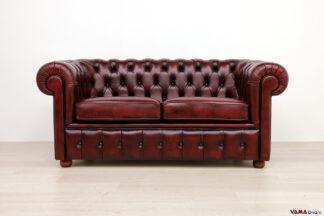 Divano Chester 2 posti rosso vintage in stile inglese