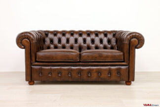 Divano Chesterfield vintage marrone 2 posti