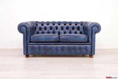 Divano Chesterfield 2 posti in pelle blu vintage