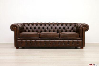 divano chester 3 posti classico marrone vintage