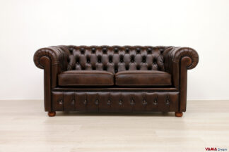 Divano Chesterfield 2 posti marrone vintage