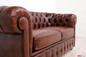 Bracciolo divano Chester 2 posti pelle vintage ruggine