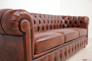 Bracciolo divano Chester 3 posti in pelle ruggine