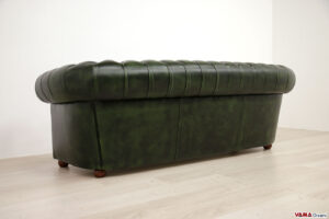 Dietro divano Chesterfield 3 posti verde anticato