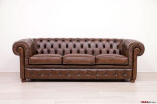 divano chester marrone 3 posti scontato