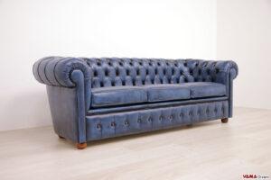 Divano Chester 3 posti blu in pelle vintage