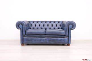 Divano Chesterfield 2 posti blu in pelle vintage