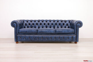 Divano Chesterfield 3 Posti blu in pelle