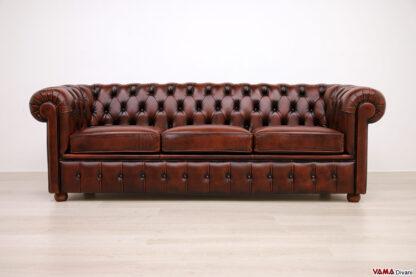 Divano Chesterfield 3 posti in pelle ruggine vintage