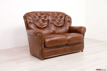 Divano vintage 2 posti in vera pelle marrone
