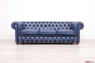 Divano capitoonè Chesterfiel 3 posti in pelle vintage blu