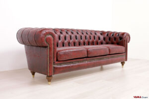 Divano Chesterfield Florence rosso in pelle stampa damasco